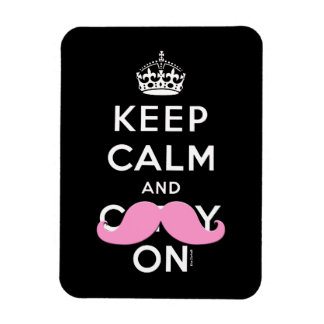 Black Pink Mustache Keep Calm and Carry On Magnet