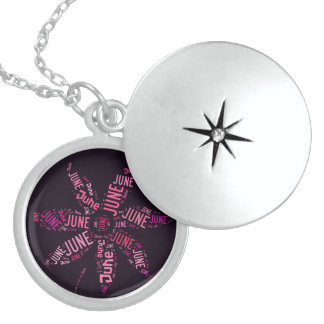 Black Pink Name June Funny Flower Typography Sterling Silver Necklace
