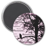 Black & Pink Nevermore Raven Silhouette Fridge Magnets