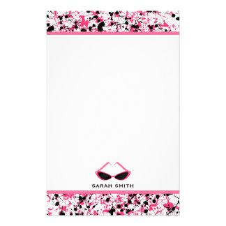 Black & Pink Paint Splatter Retro Pink Sunglasses Stationery