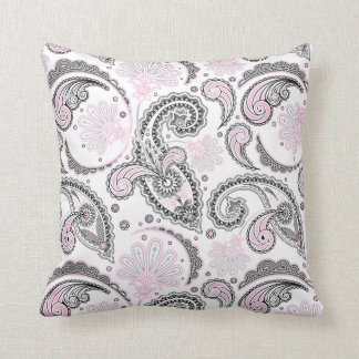 Black Pink Paisley Pattern Decorative Throw Pillow