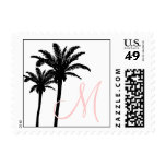 Black Pink Palm Trees Initial Wedding Postage