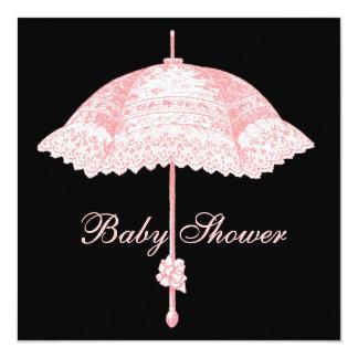 Black Pink Parasol Umbrella Baby Girl Shower 5.25x5.25 Square Paper Invitation Card