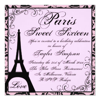 Black & Pink Paris Sweet16 Birthday Invite