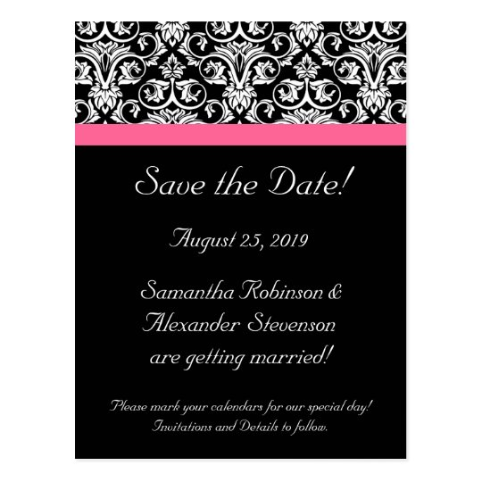 Black Pink Passion Damask Save the Date Card