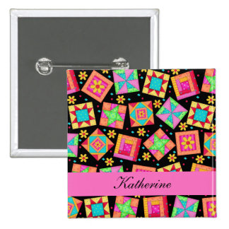 Black Pink Patchwork Quilt Blocks Name Badge 2 Inch Square Button