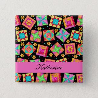 Black Pink Patchwork Quilt Blocks Name Badge Button