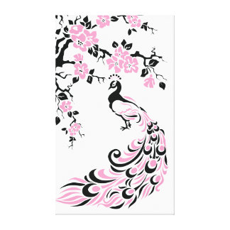 Black, pink peacock and cherry blossoms custom gallery wrap canvas