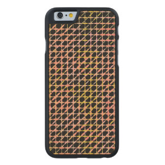 Black pink plaid carved maple iPhone 6 case