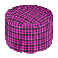 Black & Pink Plaid Round Pouf