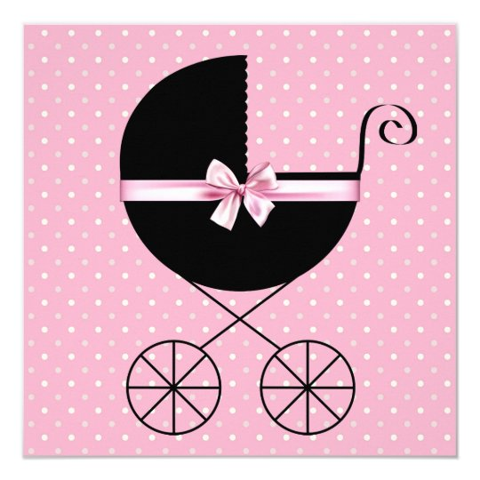 Black Pink Polka Dot Baby Shower Card