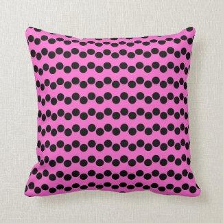 Black Pink Polka Dots Pattern - Pillow
