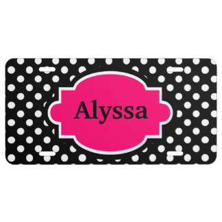 Black Pink Polka Dots Personalized License Plate