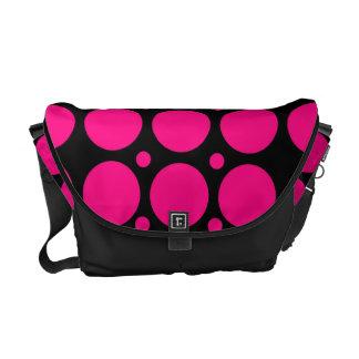 Black Pink Polka Dots Rickshaw Messenger Bag