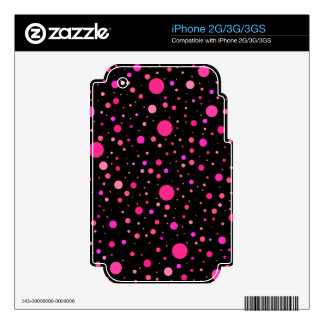 Black pink polka dots decal for the iPhone 3G