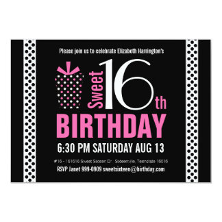 Black Pink Polkadots Sweet 16 Birthday Card