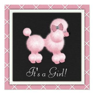 Black Pink Poodle Baby Shower Invitations