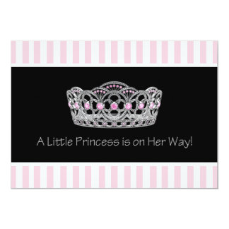 "Black Pink Princess  Baby Shower 5"" X 7"" Invitation Card"