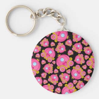Black pink princess carriage keychain