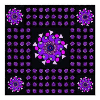 Black Pink Purple Cosmic Neon Geometric Poster