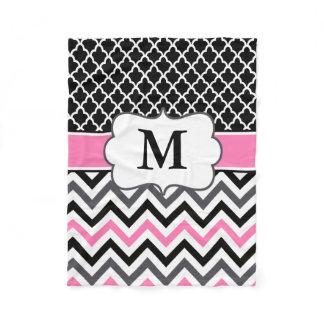 Black Pink Quatrefoil Chevron Monogram Blanket