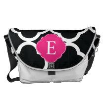 Black Pink Quatrefoil Monogram Courier Bag