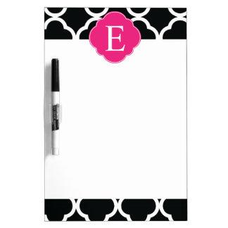 Black Pink Quatrefoil Monogram Dry Erase Board