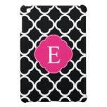 Black Pink Quatrefoil Monogram Cover For The iPad Mini