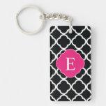 Black Pink Quatrefoil Monogram Rectangle Acrylic Key Chain