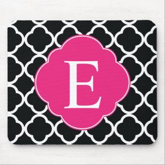 Black Pink Quatrefoil Monogram Mouse Pad