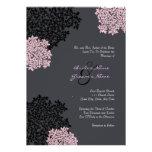 Black & Pink Queen Anne's Lace Wedding Invitation