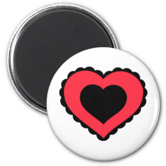 Black & Pink Red Lace Heart Magnets