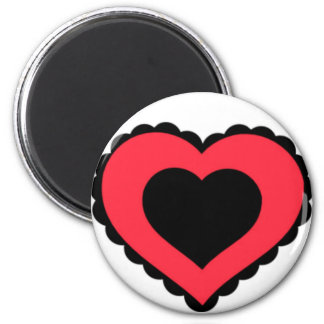 Black & Pink Red Lace Heart Refrigerator Magnets