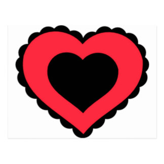 Black & Pink Red Lace Heart Postcard