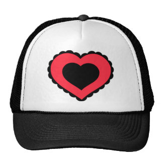 Black & Pink Red Lace Heart Trucker Hat