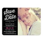 Black & Pink Retro Script Photo Save the Date Card Custom Invites