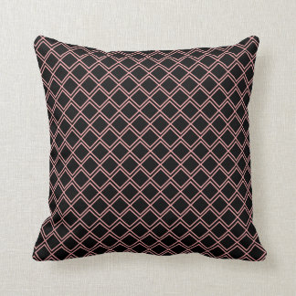 black pink rhombus melts throw pillow