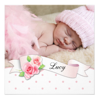 Black Pink Rose Baby Girl Birth Announcements