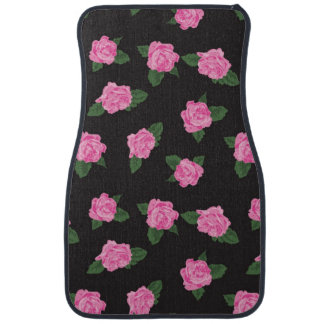 Black pink rose flowers shabby floral pattern chic car mat