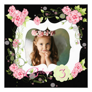 Black Pink Rose Girls Photo 3rd Birthday Party Personalized Announcement