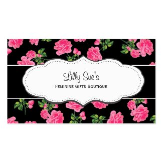 black pink roses flowery business cards - Girly Business Cards