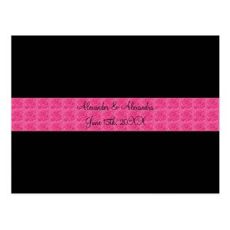 Black pink roses wedding favors postcard