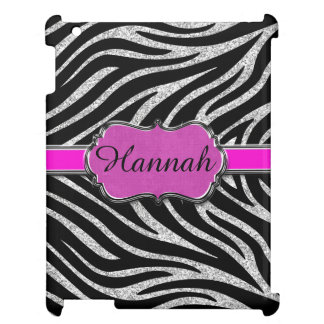 Black Pink Silver Glitter Zebra Personalized Cover For The iPad