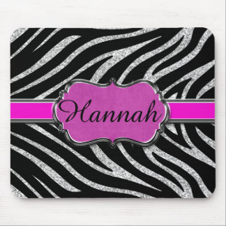 Black Pink Silver Glitter Zebra Personalized Mouse Pad