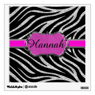 Black Pink Silver Glitter Zebra Personalized Room Graphics