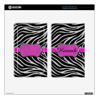 Black Pink Silver Glitter Zebra Personalized Skin For Kindle Fire