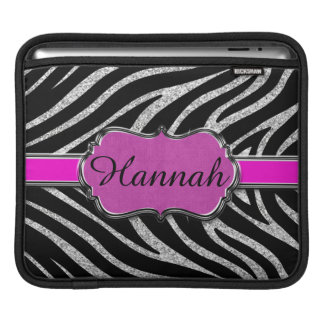Black Pink Silver Glitter Zebra Personalized Sleeve For iPads