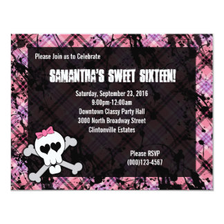 Black & Pink Skull Crossbones Sweet Sixteen Party 4.25x5.5 Paper Invitation Card