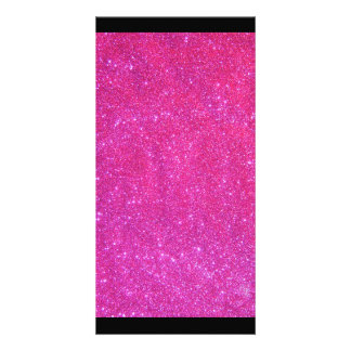 Black Pink Sparkly Glitter Photo Card Girly