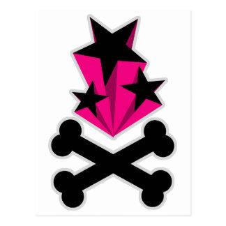 Black Pink Stars Crossbones Postcards